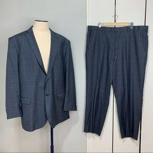 Ezra Karako 2 Pieces Gray Plaid Suit Sz 44L/50L